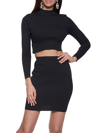 Cropped Mock Neck Top with Pencil Skirt,BLACK,large