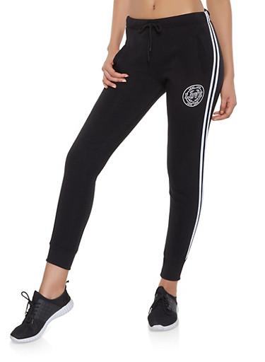 Love Graphic Varsity Stripe Joggers,BLACK,large