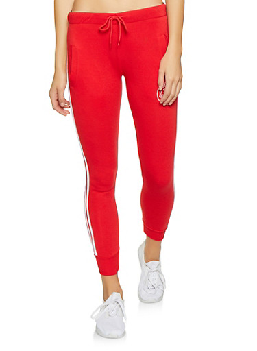 Love Graphic Varsity Stripe Joggers,RED,large