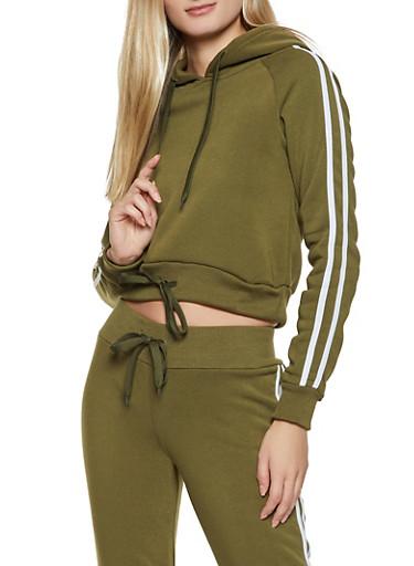 Varsity Stripe Hooded Sweatshirt,OLIVE,large
