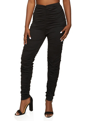 Ruched Leggings,BLACK,large