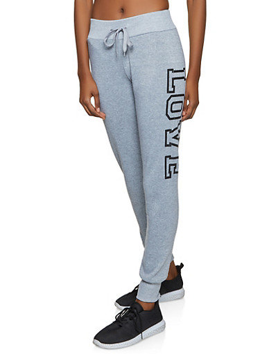 Love Graphic Fleece Lined Joggers,HEATHER,large