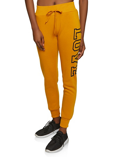 Love Graphic Fleece Lined Joggers,MUSTARD,large