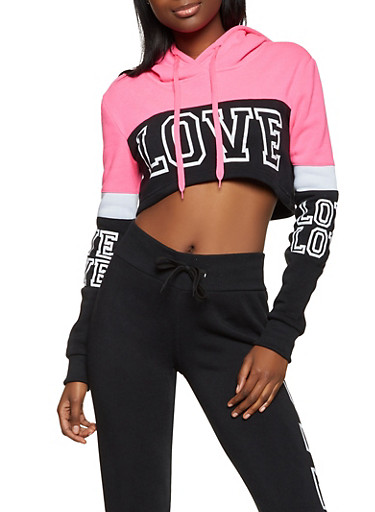 Cropped Love Color Block Sweatshirt,NEON PINK,large