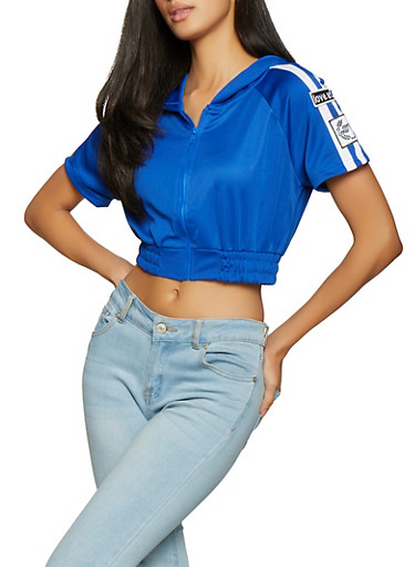 Love Patch Cropped Track Jacket,RYL BLUE,large