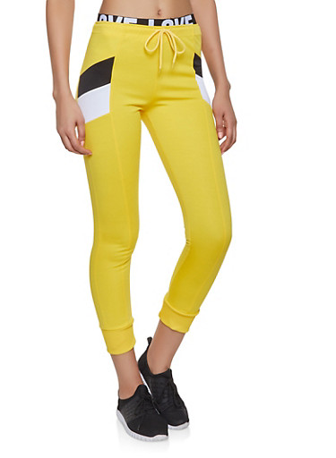 Love Elastic Waist Joggers,YELLOW,large