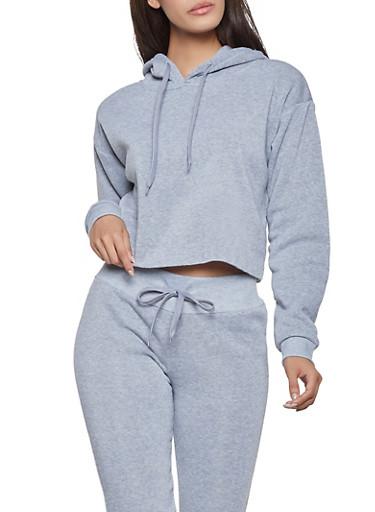 Fleece Raw Hem Sweatshirt,HEATHER,large