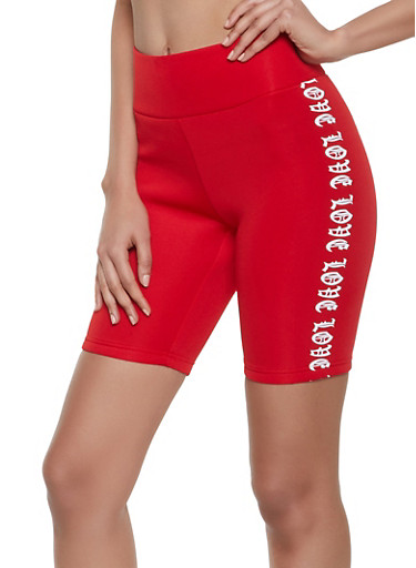 Love Graphic Scuba Knit Bike Shorts,RED,large