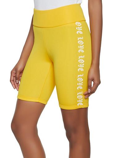 Love Graphic Scuba Knit Bike Shorts,YELLOW,large