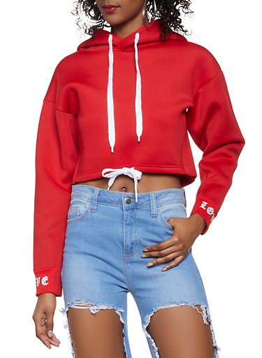 Love Graphic Drawstring Waist Hooded Sweatshirt,RED,large