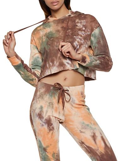 Tie Dye Cropped Sweatshirt | 1413072299124,BROWN,large