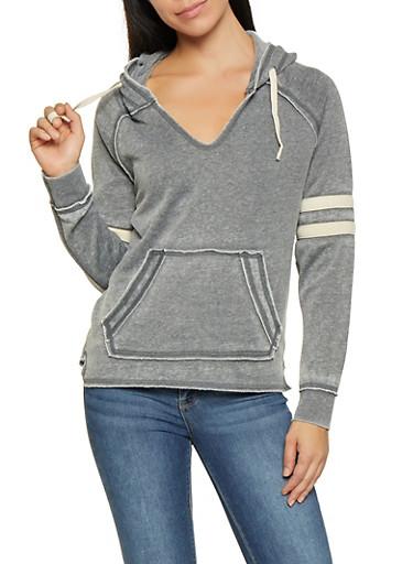 Distressed Hooded Sweatshirt,CHARCOAL,large