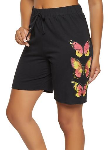 Butterfly Sweatshorts,BLACK,large