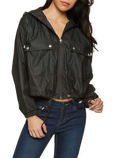 Hooded Rain Jacket,BLACK,large