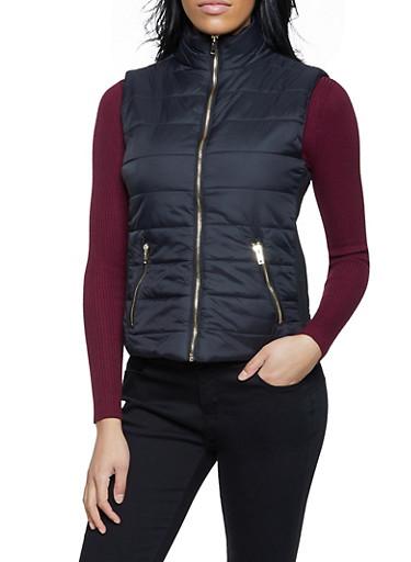 Puffer Vest,BLACK,large