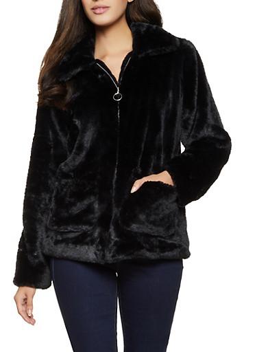 Faux Fur Zip Front Jacket,BLACK,large
