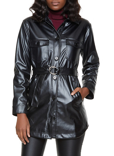 Belted Faux Leather Button Front Jacket,BLACK,large