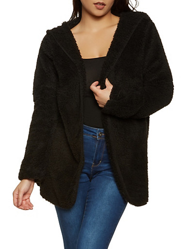 Hooded Open Front Sherpa Jacket,BLACK,large