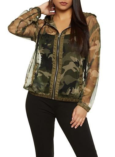 Camo Mesh Windbreaker Jacket,OLIVE,large