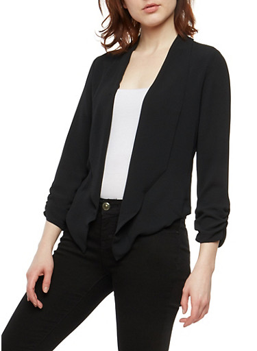 Crepe Knit Flyaway Blazer,BLACK,large