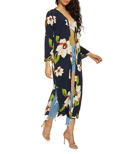 Floral Duster,NAVY,large