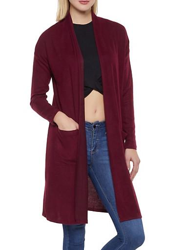 Brushed Knit Cardigan,WINE,large