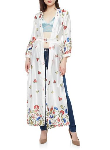 Floral Print Satin Kimono,OFF WHITE,large