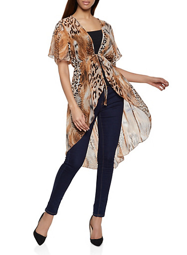 Leopard Print Tie Front Duster,BROWN,large