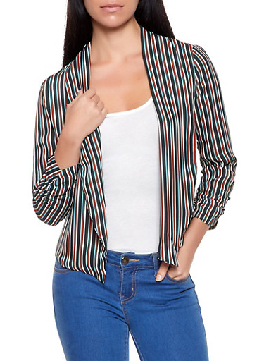 Striped Lightweight Blazer,BLACK,large