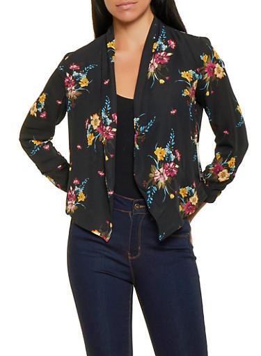 Floral Chiffon Blazer,BLACK,large