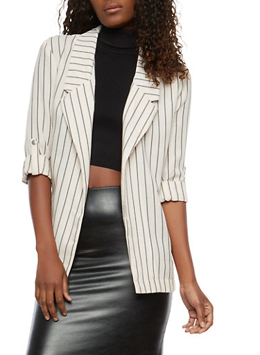 Striped Open Front Blazer,KHAKI,large