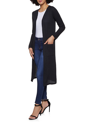 Ribbed Knit Duster | 1414062702245,BLACK,large