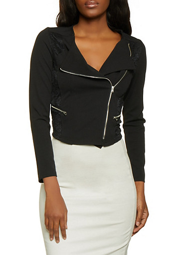 Lace Back Zip Jacket | Black,BLACK,large