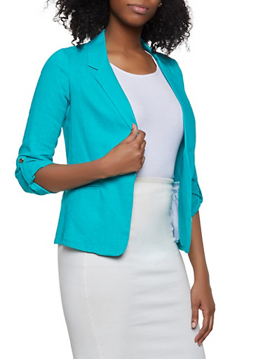 Ruched Sleeve Linen Blazer,JADE,large