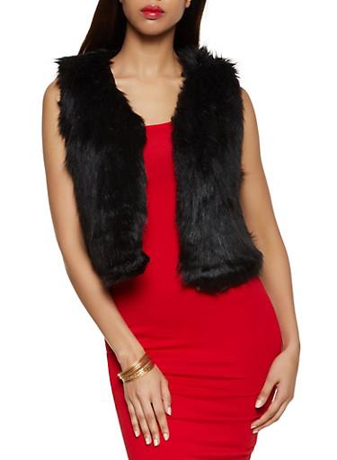 Solid Faux Fur Vest,BLACK,large