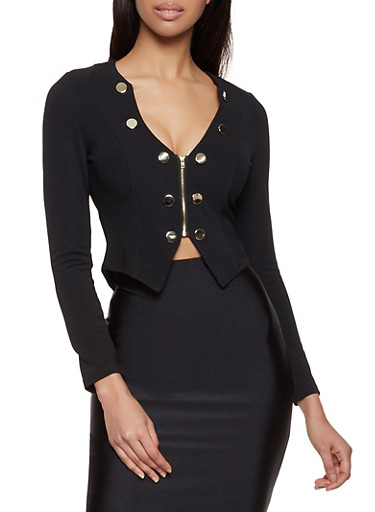 Textured Knit Zip Sailor Blazer,BLACK,large