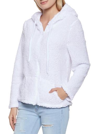 Zip Front Sherpa Jacket,WHITE,large