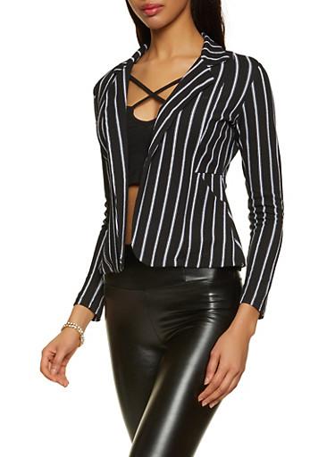 Striped Crepe Knit Blazer,BLACK,large