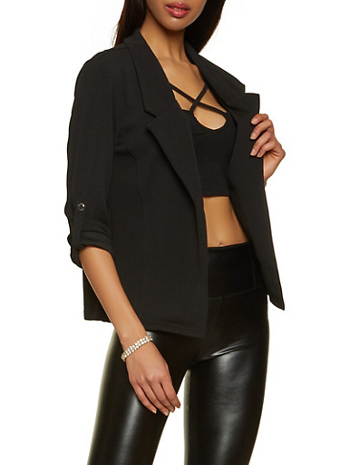 Crepe Knit Tabbed Button Sleeve Blazer,BLACK,large