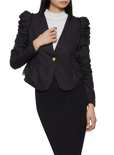 Pleated Ruched Sleeve Blazer,BLACK,large
