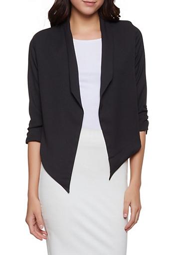 Ruched Sleeve Flyaway Blazer,BLACK,large