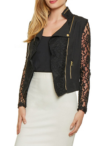 Asymmetrical Lace Insert Blazer,BLACK,large