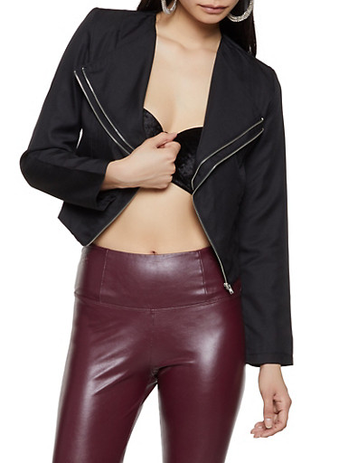 Zipper Detail Flyaway Blazer,BLACK,large