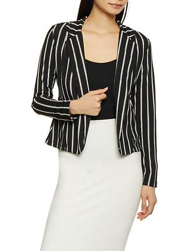 Striped Textured Knit Blazer,BLACK/WHITE,large