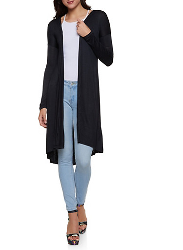 Solid Long Cardigan,BLACK,large