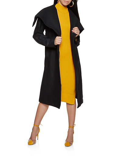Basic Tie Waist Wrap Coat,BLACK,large