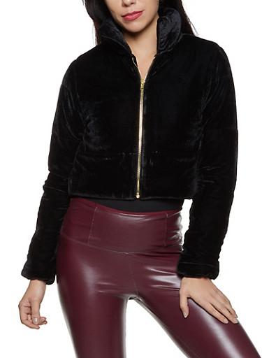Velvet Puffer Coat,BLACK,large