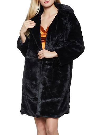 Long Open Front Faux Fur Jacket,BLACK,large