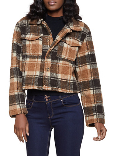 Plaid Button Front Sherpa Jacket,BROWN,large