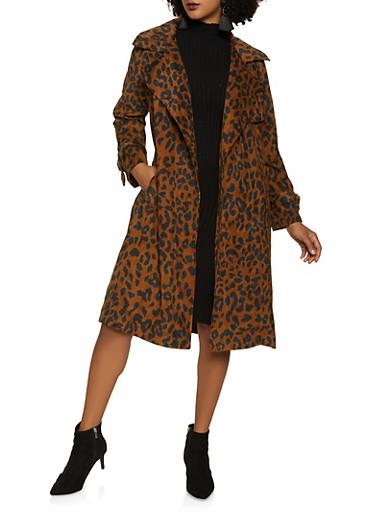 Cheetah Print Corduroy Trench Coat,BROWN,large